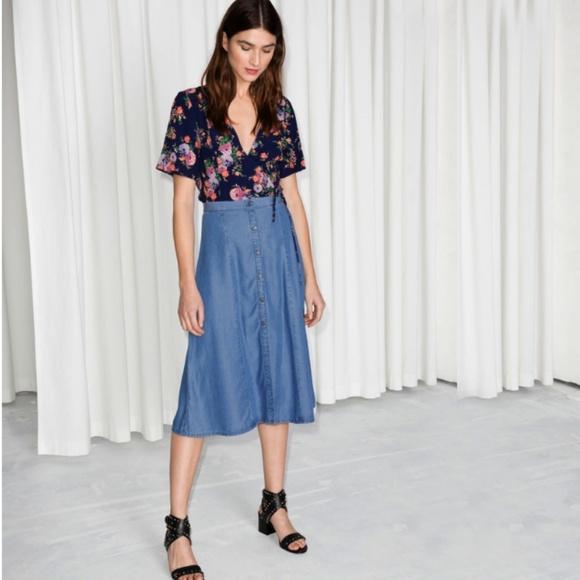 3cf0bb904 OTHER STORIES Dresses & Skirts - & OTHER STORIES A-Line Denim Midi Skirt